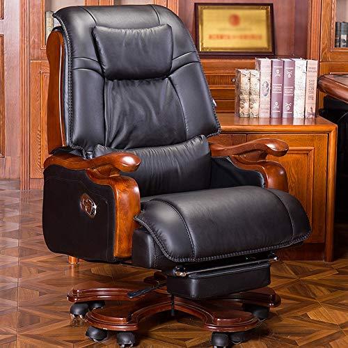 ZSAIMD Executive Office Chair - High Back Rocking PU-Leder Büro-Stuhl Reclining Massage Computer Stuhl Leder Boss Stuhl Drehstuhl Chefsessel (Color : Schwarz)