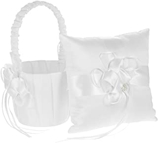 Decdeal Ivory Satin Bowknot Ring Bearer Pillow and Wedding Flower Girl Basket Set, 7 x 7 inches, White (Flower)