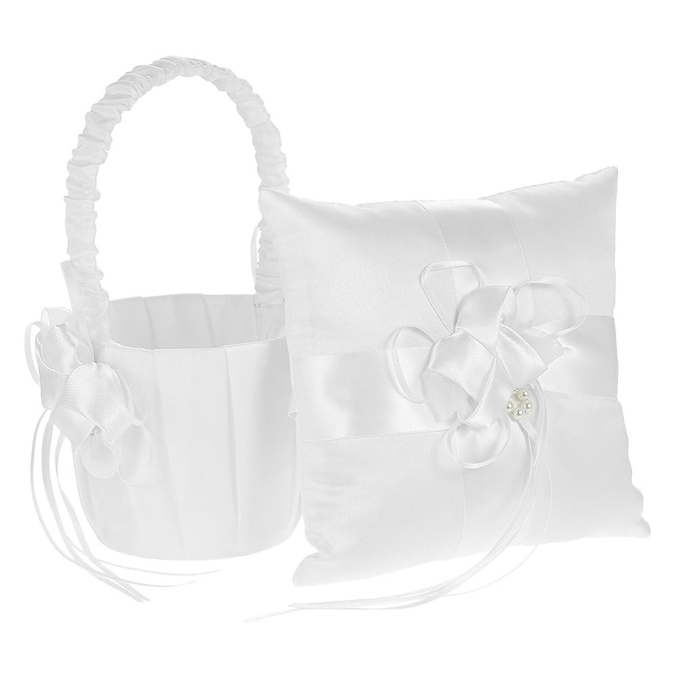 Decdeal Ivory Satin Bowknot Ring Bearer Pillow and Wedding Flower Girl Basket Set, 7 x 7 inches, White (Flower)
