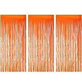 TUPARKA Cortinas de Papel de Aluminio de 3 Piezas Accesorios de telón de Fondo Cortina Brillante para Decoraciones de Fiesta de la casa encantada de Halloween (Naranja)