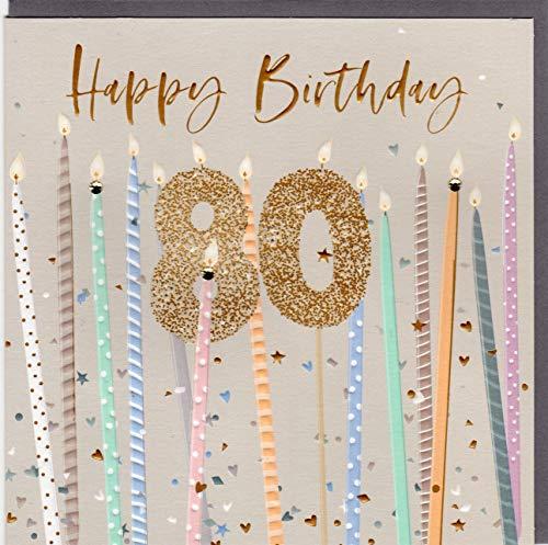 Belly Button Designs Specjalna kartka z życzeniami na 80. urodziny z wytłoczeniem i kryształami, idealna również na prezent pieniężny lub bon podarunkowy. BE242