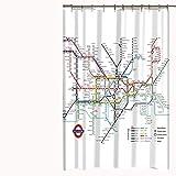 KTLRR 3D-Digitaldruck Landkarte Dekor New York City U-Bahn Duschvorhang, Stoff Badezimmer-Dekoration, 12 Badvorhänge Haken im Lieferumfang enthalten, Microfaser, 01, 150WX180H