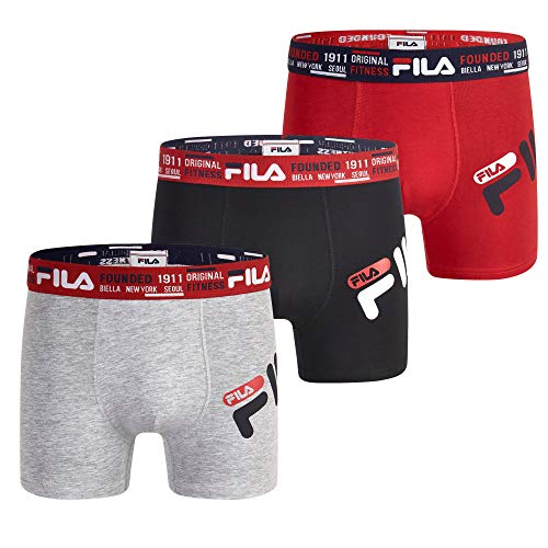 """Fila Men's 3"""" Trunks No Fly, with Pouch, 3-Pack, Light Grey Marl/Black/Chinese Red, Large"""