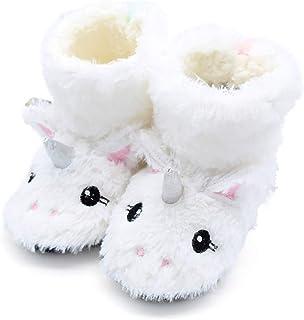 CNNWomen Velours Licorne Brodée Chaussures en Coton pour Enfants Hiver Coton Pantoufles Peluche épais Pantoufles,Blanc,34