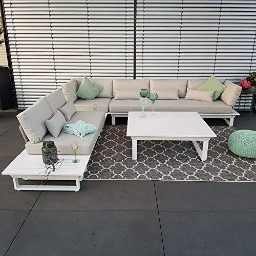 Juego de muebles de jardín de aluminio de ICM, modelo St.Tropez, de color blanco, muebles de jardín, muebles de terraza, muebles de exterior, juego de muebles de jardín