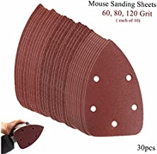 WCHAOEN 30pcs 5 Holes 140mm Triangle Sandpaper 60-120 Grit Velcro Sanding Sheets Mouse Sander Pads Accessories Tool
