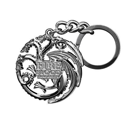 Noble Collection Porte-clés Game of Thrones - Emblème Targaryen (Gris Chrome)