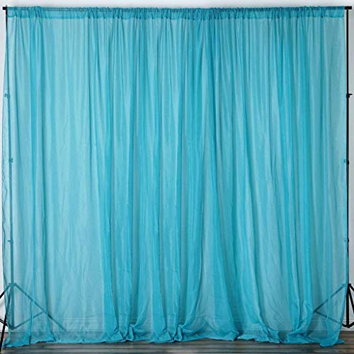 """AK TRADING CO. 120"""" Wide (10Ft Wide) Sheer Voile Drape Panels for Backdrop, Wedding Events, Ceiling Drapes, Event Masking, & Decor - Select from 6ft to 50ft Length. (10 feet x 6 feet, Turquoise)"""