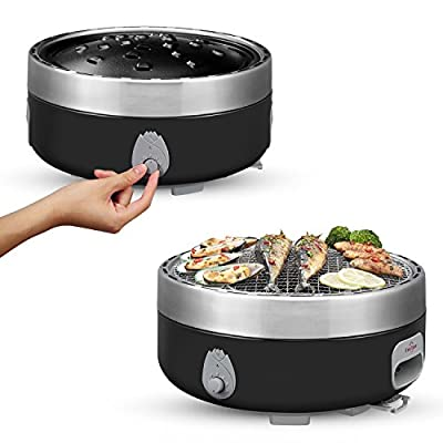 Portable Charcoal Outdoor BBQ Grill For Camping With Travel Bag - Small Tabletop Smoke ? Smokeless Pan Optional - Built In Electric Fan Power Supplied By Battery Charger Or Power Bank. (Luxury Black)