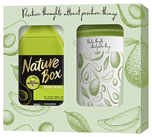 Nature Box Nature Box cadeauset Avocado douchegel 385ml met bamboe koffiebeker, 385 ml