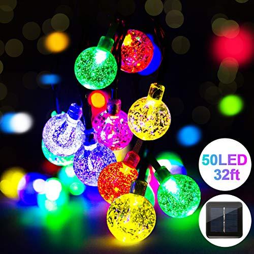 Fulighture Solar Garten Lichterkette,Balkonlichter Kette Solar,9.8 Meter Kugeln Lichterketten mit 50er Bunt, 8 Modi IP44 Wasserdicht Außerlichterkette für Garten,Bäume,Weihnachten,Partys Deko