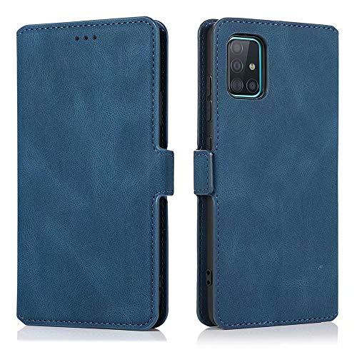 LCHULLE Leder Hülle für Samsung Galaxy S10 Lite/A91 Handyhülle Leder Klappbar Schutzhülle Premium Silikon Hülle Standfunktion Kartenfach Brieftasche für Samsung S10 Lite/A91 Blau