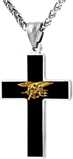 Navy Seal Eagle Trident Fashion Custom Cross Necklace Cross Prayer Christ Necklace Pendant 24 Inch Crucifix Pray Ornaments Unisex