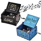 NAMIS 2 Piezas Caja de Música de Manivela de Madera Caja de Musica Harry Potter Caja de MúSica Tallada Antigüedad Cumpleaños Aniversario (Azul/Negro)