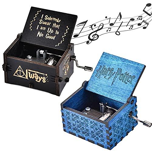 NAMIS 2 Piezas Caja de Música de Manivela de Madera Caja Musical Tallada Antigüedad Harry Potter Caja De MúSica Cumpleaños/Aniversario (Azul, Negro)