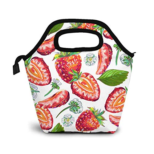 Bolsa de almuerzo reutilizable Bolsa de almuerzo de pajitas rojas frescas Bolsa de almuerzo térmica con flores blancas gourmet Bolsa de almuerzo floral Bolsa caliente