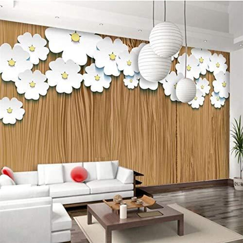 Papel tapiz mural Papel tapiz personalizado Papel tapiz de textura de madera 3d origami art flores blancas fondo papeles de pared decoración para el hogar 3D