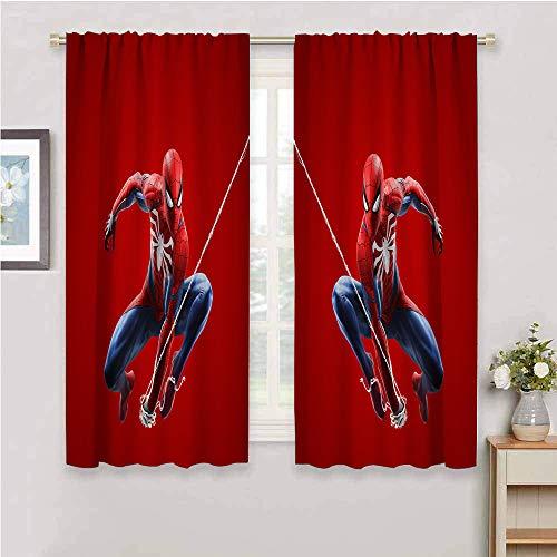 Zmcongz Juego de cortinas decorativas para sala de estar, 2 paneles, diseño de Spiderman
