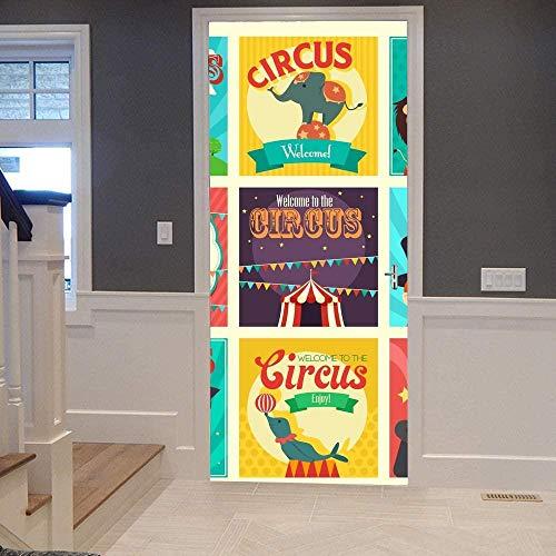 Murales para puertas para puerta interior armario circo efecto 3D Papel pintado puerta Autoadhesivo Impermeable PVC 77X200cm Cocina Sala de Baño