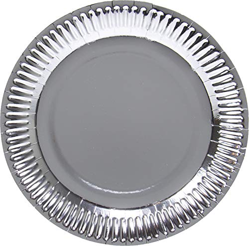 Folat 50681 Silberfarbene Metallic Teller 23 cm - 8 Stück