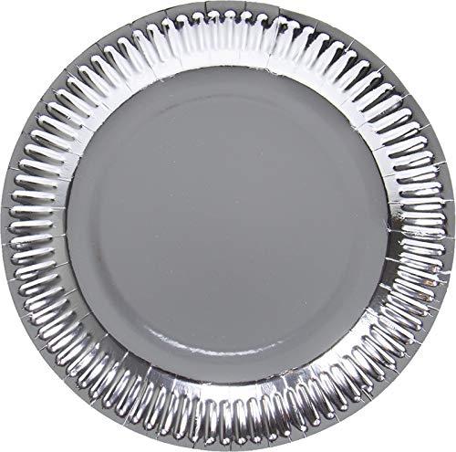 Folat Silberfarbene Metallic Teller 23 cm - 8 Stück