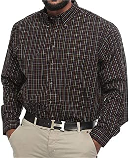 Harbor Bay Big and Tall Plaid Long Sleeve Dress Shirt for Men