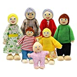 Dolls Houses 7PCS Wooden Family Dolls Lovely Happy Family Dolls Playset Wooden Figures People Dolls House Accessories for Dollhouse Kids Children Toy