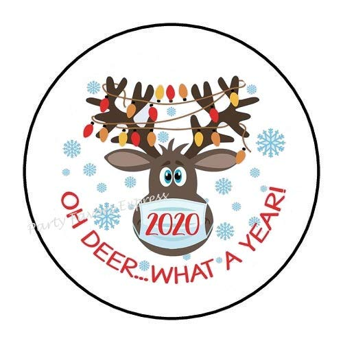 """48 OH DEER WHAT A YEAR 2020 CHRISTMAS MASK Envelope Seals Labels Stickers Party Favors 1.2"""""""