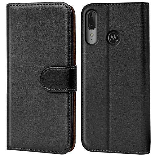 Verco Motorola Moto E6 Plus Hülle, Handyhülle für Motorola Moto E6 Plus Tasche PU Leder Flip Hülle Brieftasche, Schwarz