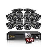 Anlapus 5MP Sistema de Vigilancia 8CH H.265+ Grabador DVR con 2TB Dsico Duro 8 Cámaras de Seguridad Impermeable, 30M Visión Nocturna, Alerta por Email/App