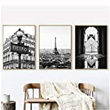 Fotografía de París Impresiones Carteles en blanco y negro Torre Eiffel Inicio Arte de la pared Fotos Lienzo Pintura Galería de París Decoración de pared-50x70cmx3 piezas Sin marco