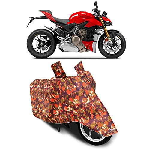 XAFO - Ducati Streetfighter V4 New BS6 100% Waterproof - Dust Proof - Full Bike Scooty Two Wheeler Body Cover for Ducati Streetfighter V4 (Life Time Military)