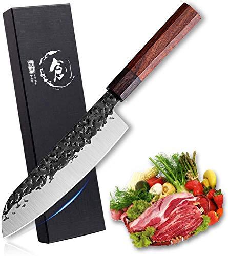 Freelander Kochmesser Santoku Messer ultrascharfes Kochmesser 7 Zoll Handgeschmiedete professionelles Küchenmesser aus kohlenstoffreichem Stahl Mehrzweck Gyuto Messer für zu Hause und Restaurant