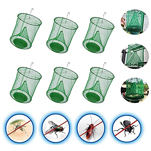 Ranch Fly Trap Flay with Bait Tray Catcher, Ranch Hanging Fly Catcher Cage with Bait Tray Folding Reusable Fly Trap Net Outdoor Control Bug Mosquito Pest for Garden Farm Park Horse Orchard (6 Pack)