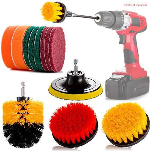 14 Piece Drill Cleaning Brush Attachment Set, Spin Power Scrubber Brushes and Pads for Electric Cordless Drill and Impact Driver, Scrubbing Tools for Tile, Toilet, Grout, Wheels, Bathroom, Tub