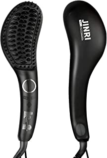 Jinri Ionic Hair Straightener Brush with Double Anion Anti-scald, Ceramic Hair Straightening Brush with Fast Heating, Electric Auto Shut Off, Temperature Lock, Perfect for Travel, Black
