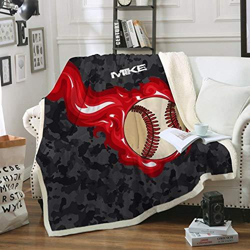 STJZXHN Mantas,Ropa de Cama Manta de Tiro Sherpa de impresión Digital única de béisbol 3D,Manta de Viaje de Cama Doble cálida,para sofá Cama Sábanas de Invierno Sábanas de Felpa,75×100cm/30×40 pulga