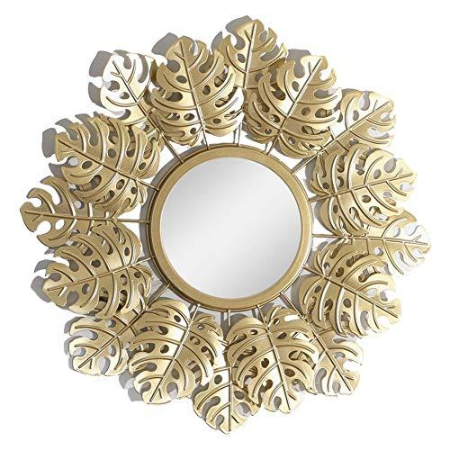 presentimer Espejo de Pared Colgante Espejo de Pared Circular Decorativo Redondo Espejo de Pared de Hoja Dorada para Sala de Estar Dormitorio Oficina