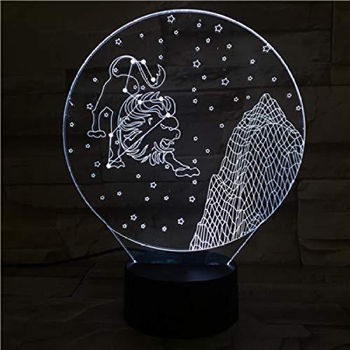 wangZJ3D Nachtlicht/Konstellation/Jungfrau/Steinbock/Schütze/Waage/Wassermann/7 Farben/Dekoratives Licht/Schlafende Beleuchtung/Kinder Geschenk