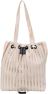 Wultia - Fashion Durable Women Student Lace Canvas Pocket Shoulder Bag Shopping Tote Female Slant Canvas Shopping Bags #G8 Beige