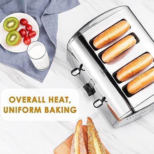 AICOK 1700W inoxydable Grille-pain multifonction avec 4 Extra Large Slits, Contrôle de la température argent