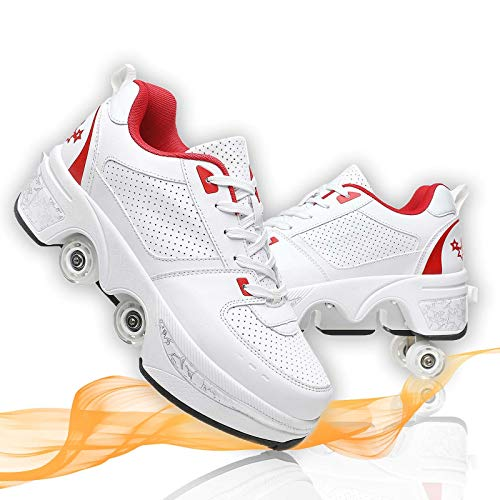 Deformar Patines De Ruedas Grandes Patines En Línea Ajustables Zapatos De Deformación De Doble Fila para Patines Caminar Unisexo,White Red,36