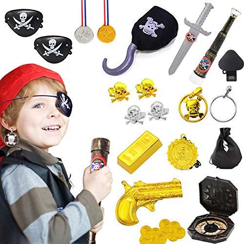 Piraten Zubehör Set,Kostüm Set für Karneval,Piratenset bestehend,Piraten Zubehöre,Piratenkostüm Kinder,Goldener Ohrring,Fernrohr,Augenklappe Pirat,Kostüm Set für Karneval,Halloween Deko (schwarz)