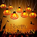 Halloween Decorations String Lights Battery Operated, FURANDE Pumpkin String Lights 10ft 20 LEDs with 2 Lighting Modes (Steady/Flickering), Waterproof Indoor/Outdoor Halloween Party Decorations
