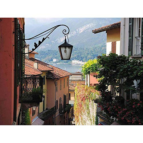 12 X 16 INCH / 30 X 40 CMS BELLAGIO LAKE COMO ITALY STREET SCENE PHOTO FINE ART PRINT POSTER HOME DECOR PICTURE BMP175B