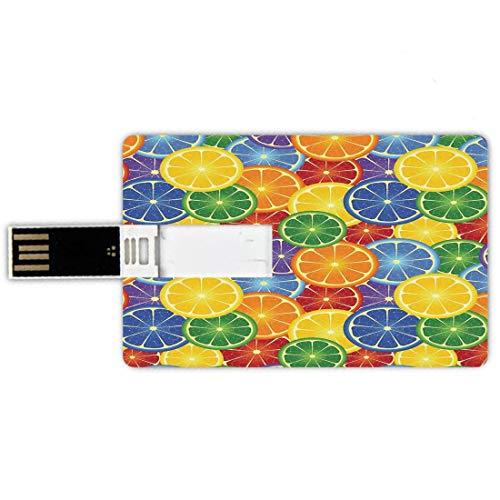 8GB Forma de tarjeta de crédito de unidades flash USB Resumen Estilo de tarjeta de banco de Memory Stick Coloridas rodajas de naranja Fruta tropical Color del arco iris Divertido Hogar ingenioso,Amari