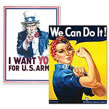 PalaceLearning 2 Pack - Uncle Sam - I Want You & We Can Do It Poster Set - World War 2 - Army - Rosie The Riveter  Laminated 18  x 24