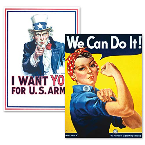 PalaceLearning 2 Pack - Uncle Sam - I Want You & We Can Do It Poster Set - World War 2 - Army - Rosie The Riveter (Laminated, 18' x 24')