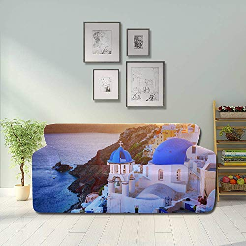 JEOLVP Oia Town On Santorini Island Greece At Sunset Stretch Slipcover Modern Sofa Cover Fitted Furniture Protector 2&3 Seat Sofas