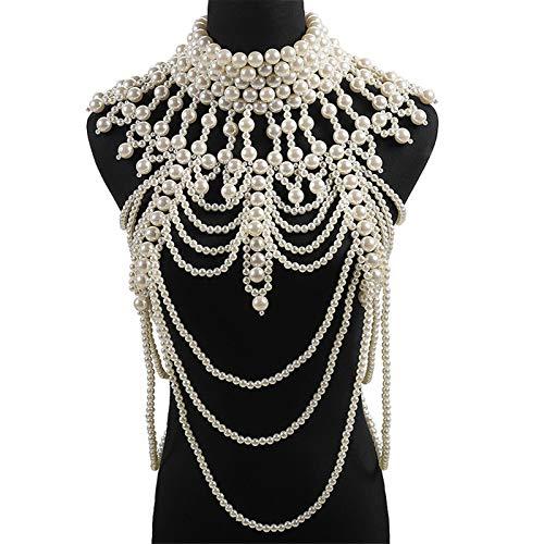 LEEleegang Collar de perlas de imitación para mujer con cadena para el cuerpo, chal con capas, cuello cálido para invierno, bufandas